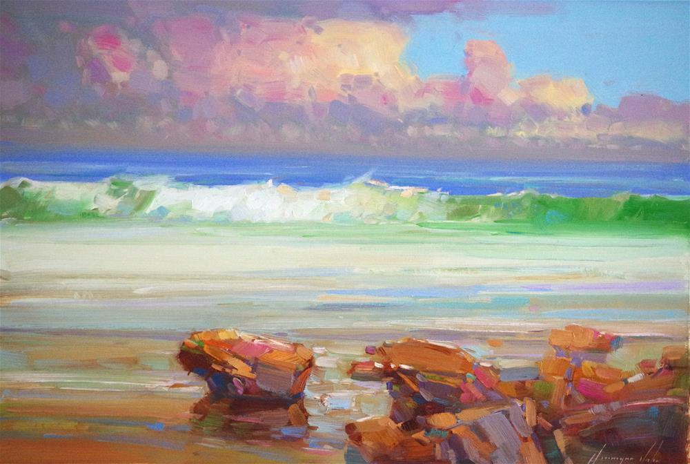 """South Bay, original oil Painting, Handmade art, One of a Kind"" original fine art by V Y"