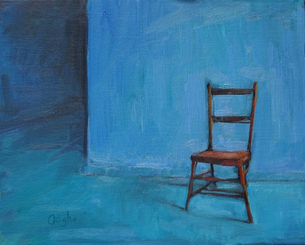 """Red Chair Blue Wall"" original fine art by Angela Ooghe"