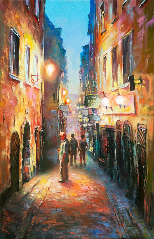 """Everything shut - Stockholm Gamla stan, oil painting"" original fine art by Nick Sarazan"