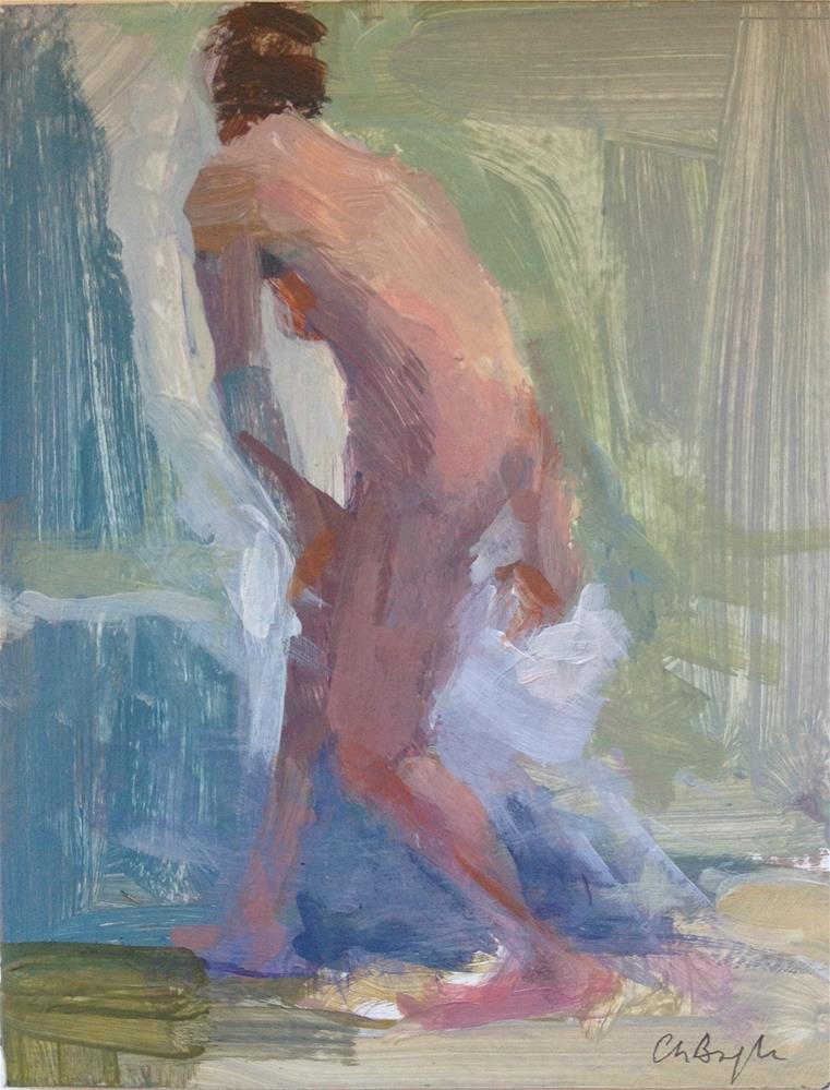 """Nude sketch (arranging bed)"" original fine art by Christine Bayle"