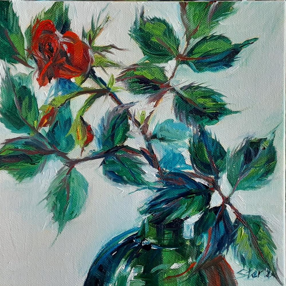 """Single Rose"" original fine art by Susan Sterle"