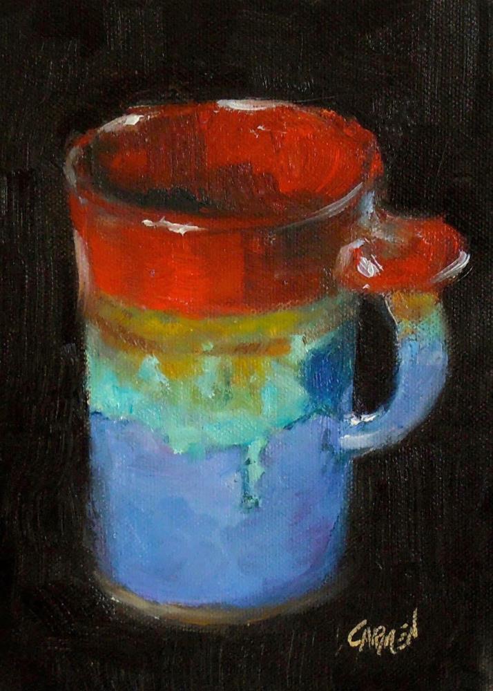 """""""Tall Cup, 5x7 Oil on Canvas Still Life"""" original fine art by Carmen Beecher"""