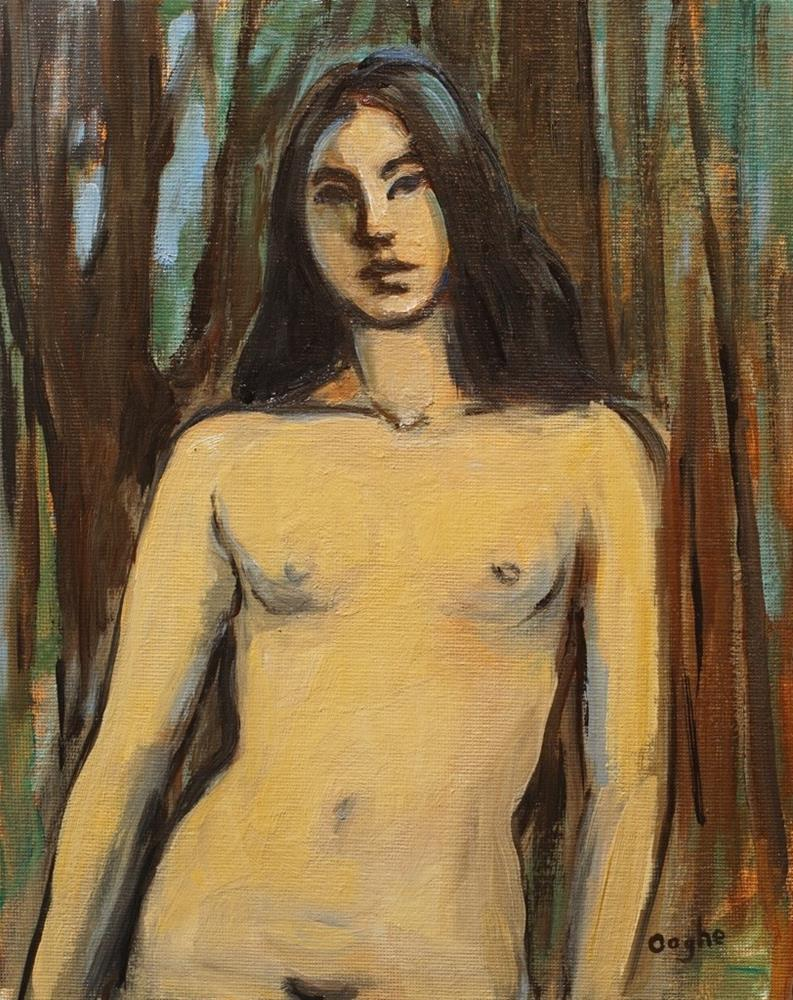 """Nude beside Banyan Tree"" original fine art by Angela Ooghe"
