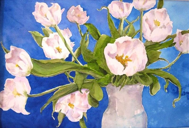 """Blue with Tulips, framed"" original fine art by Judith Freeman Clark"