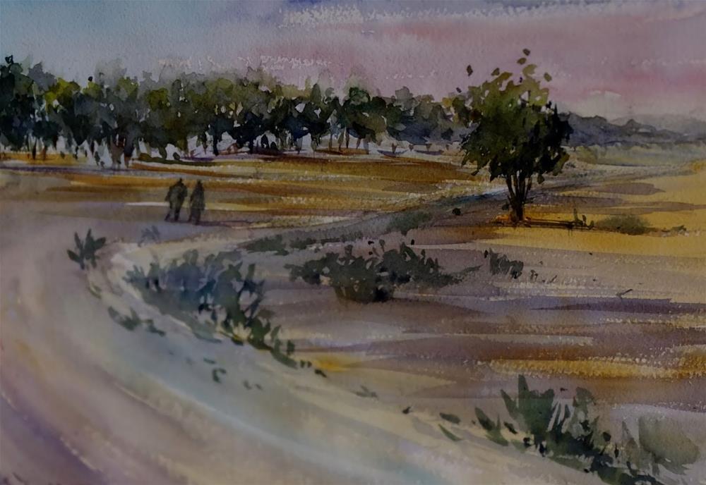 """""""Wadi, Al Ain"""" original fine art by Midori Yoshino"""