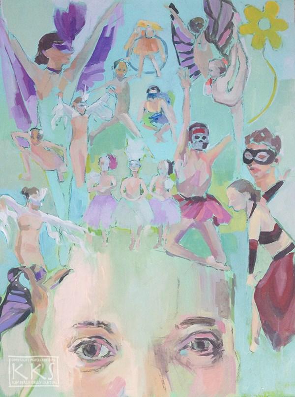 """A World Away, in Process"" original fine art by Kimberly Santini"