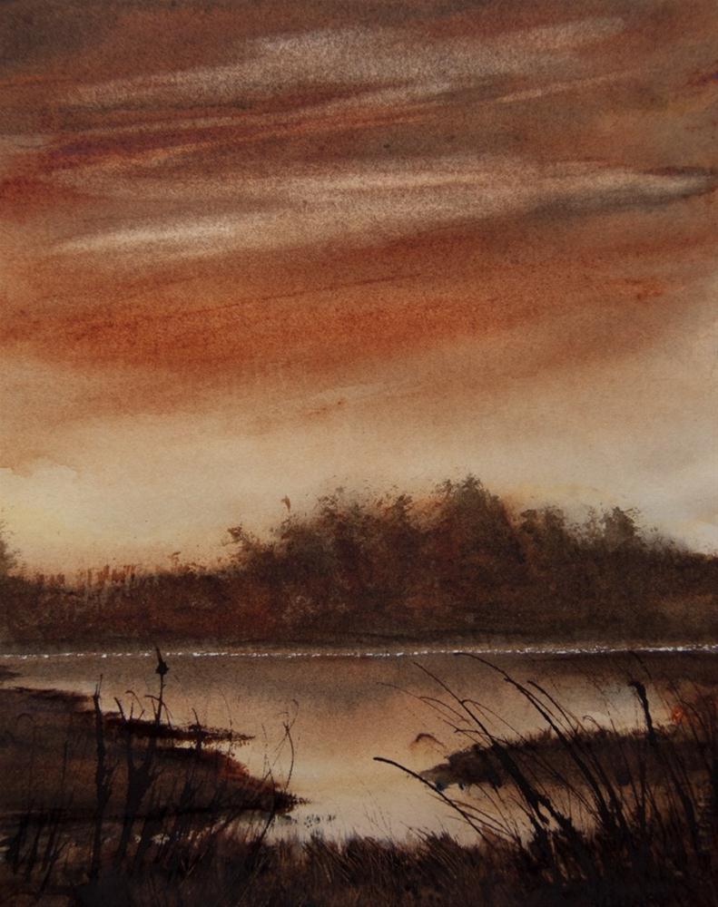 """Marsh Sunset"" original fine art by Jean Lurssen"