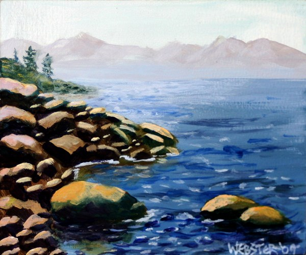 """""""Small Mountain Lake Rocky Shores - Original Acrylic Painting by Northern California Artist Mark Webs"""" original fine art by Mark Webster"""
