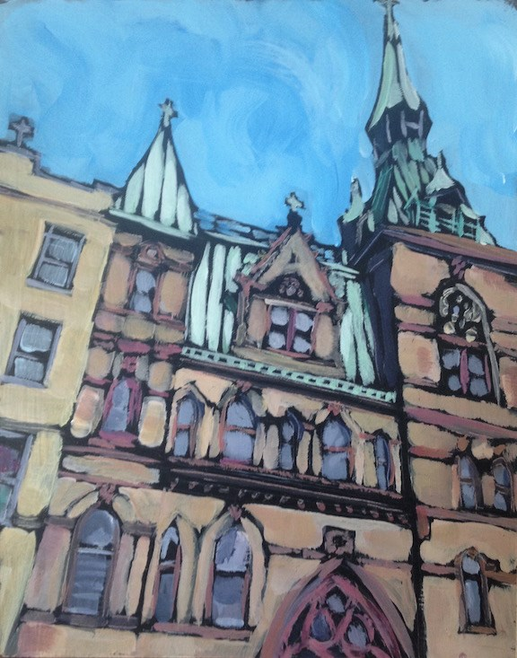 """Second Ave Church"" original fine art by Kat Corrigan"