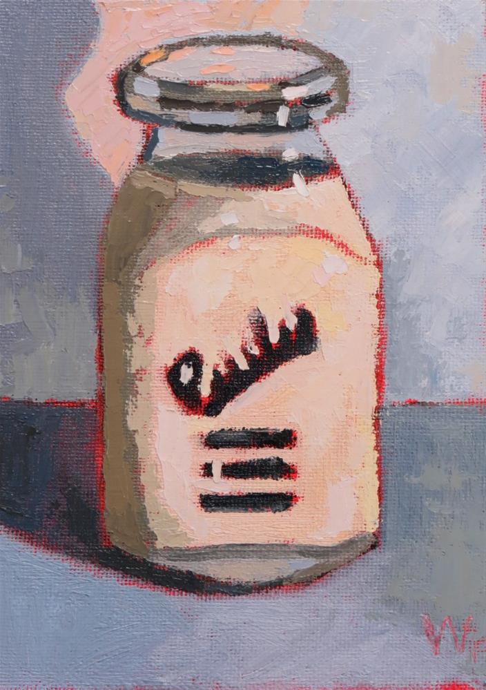 """""""Full Milk Bottle"""" original fine art by Joan Wiberg"""