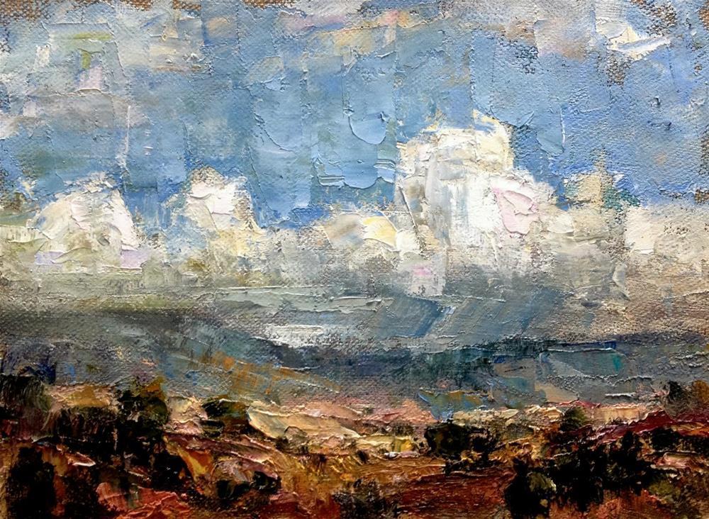 """Clouds Over The Mesa, N.M."" original fine art by Julie Ford Oliver"