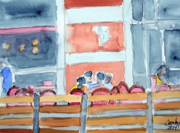 """Lazy Afternoon Brunch"" original fine art by Donna Crosby"