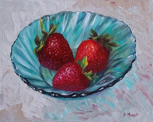 """""""Three Strawberries"""" original fine art by Donna Munsch"""
