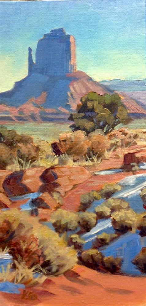 """""""Distant Mitten (The West Mitten, Monument Valley)"""" original fine art by Valerie Orlemann"""