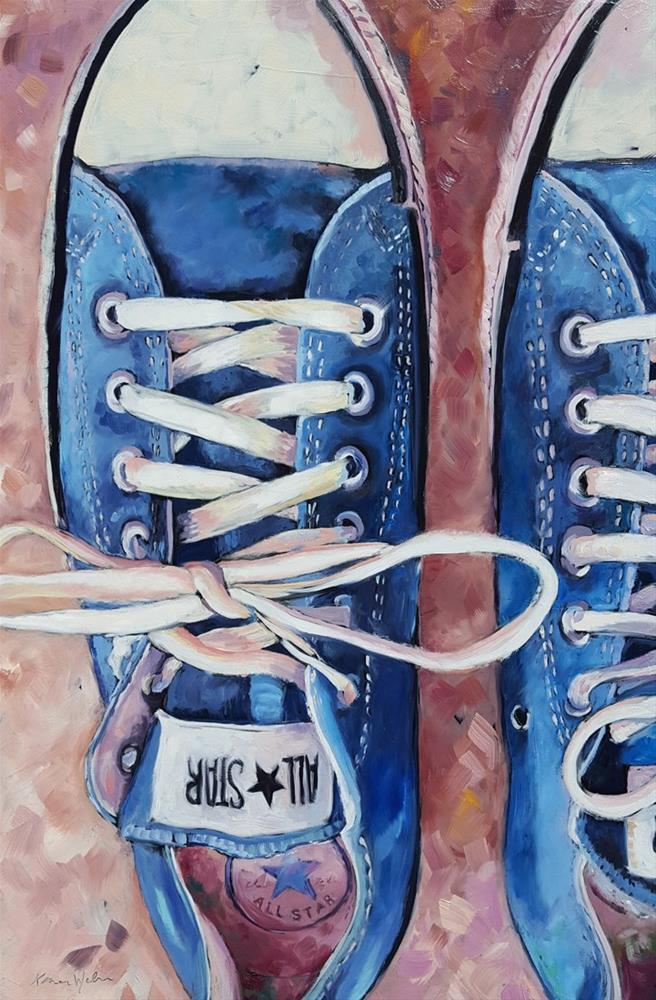 """""""Blue Chuck Taylors"""" original fine art by Karen Weber"""