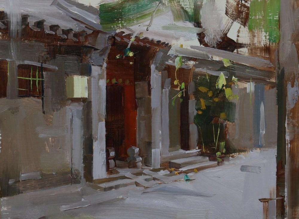 """""""Beijing Hutong 2014 9"""" original fine art by Qiang Huang"""