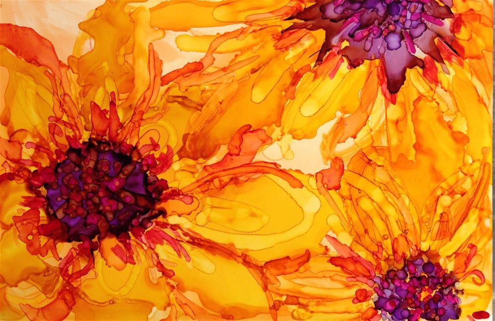 """Sunny Orange Dahlias"" original fine art by Kelly Alge"
