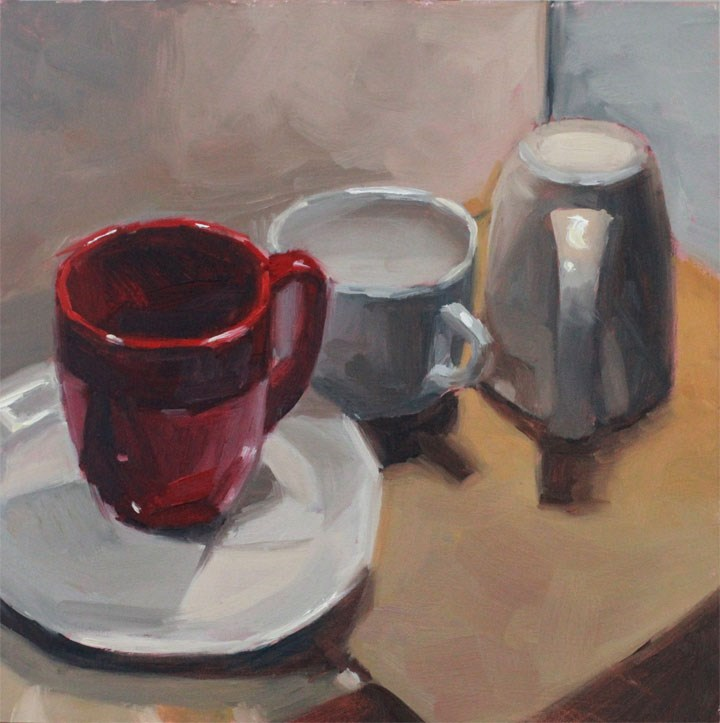 """""""3 for Coffee"""" original fine art by Nealy May Riley"""