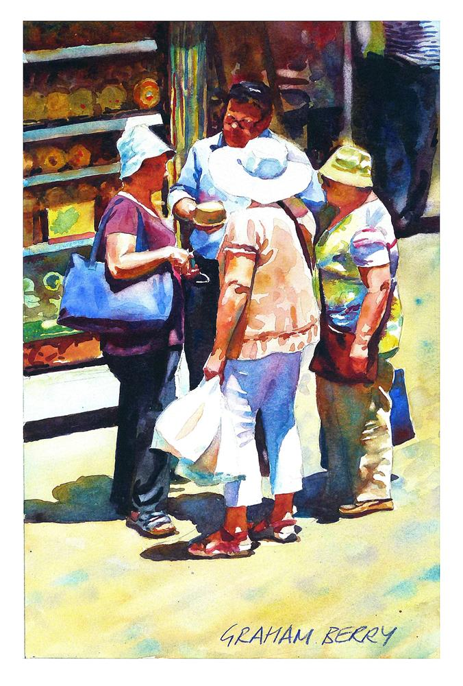 """""""Buying a cheese."""" original fine art by Graham Berry"""