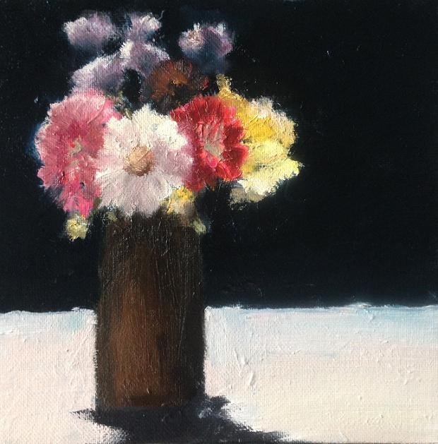 """Flowers in Brown Vase"" original fine art by christina glaser"