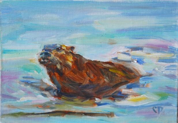 """Ollie Otter"" original fine art by Carol DeMumbrum"