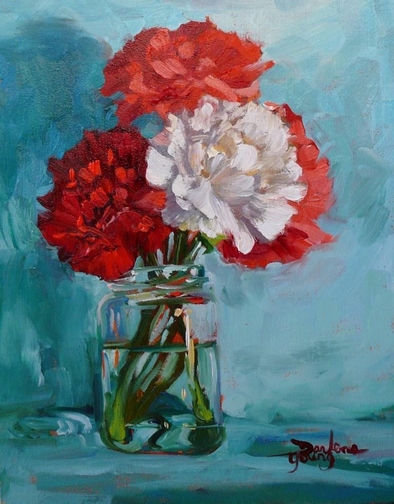 """657 Carnations in a Jar"" original fine art by Darlene Young"