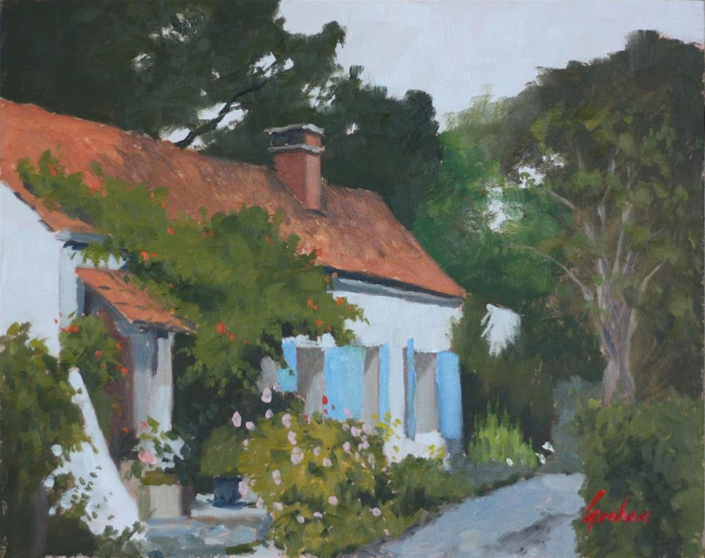 """Blue shutters"" original fine art by Graham Townsend"