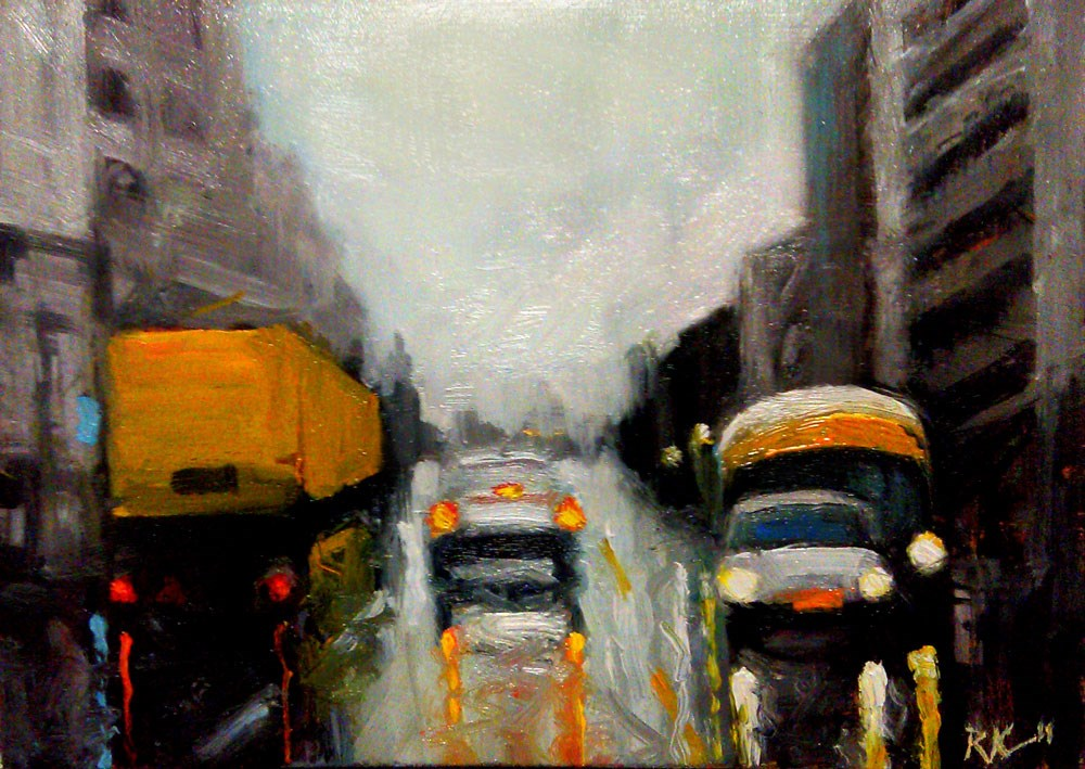 """Wet City Street"" original fine art by Bob Kimball"