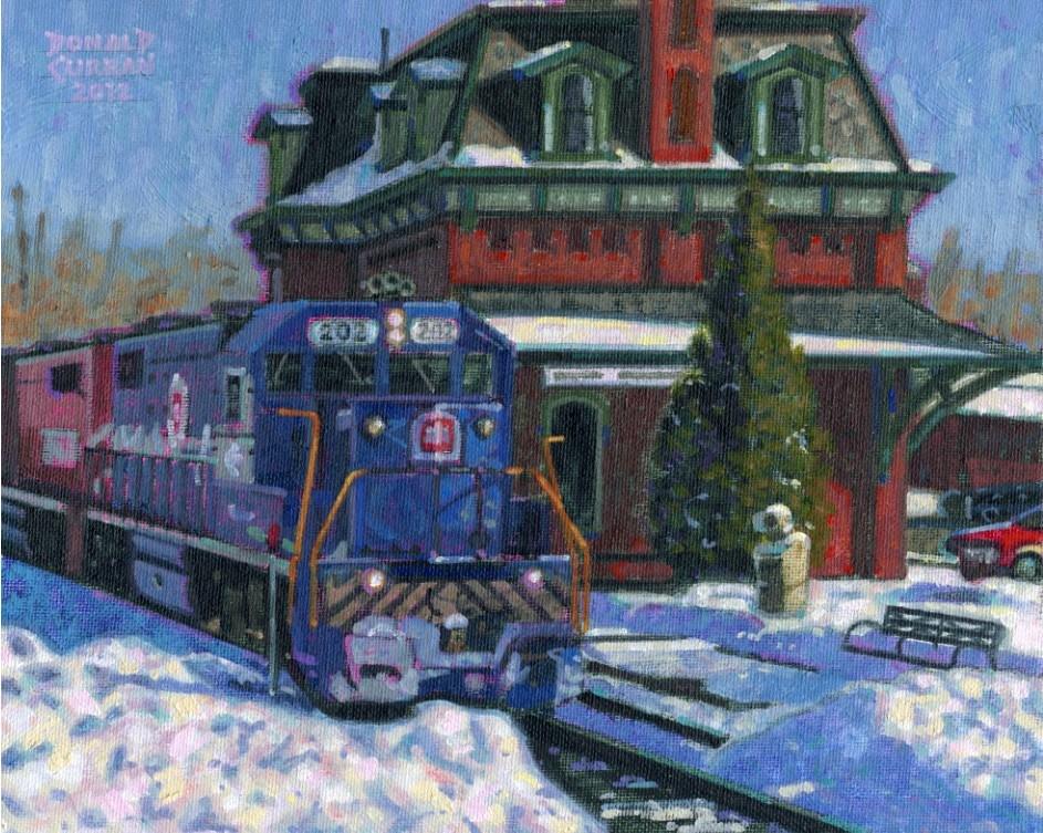 """Vermont Train Station"" original fine art by Donald Curran"