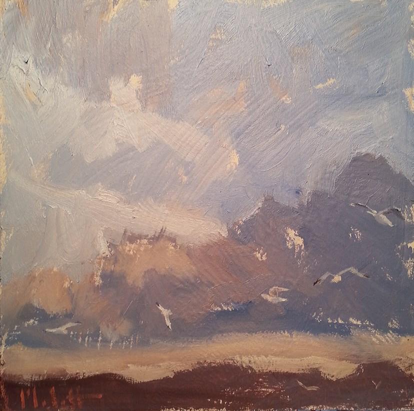 """Seaside Storm Clouds and Seagulls Contemporary Impressionism Heidi Malott"" original fine art by Heidi Malott"