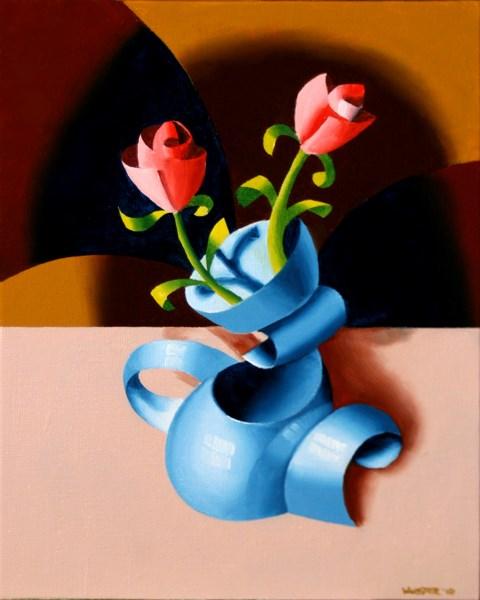 """Mark Adam Webster - Abstract Futurist Roses in Vase Oil Painting"" original fine art by Mark Webster"