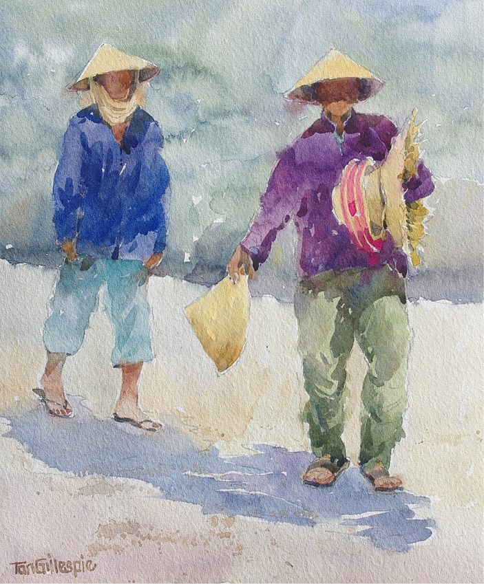 """Vietnamese Hat Ladies"" original fine art by Tan Gillespie"