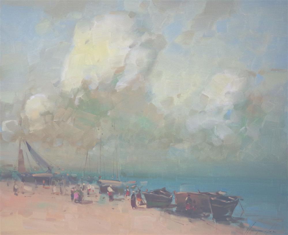 """Seashore Original oil Painting on Canvas Tonalism"" original fine art by V Y"