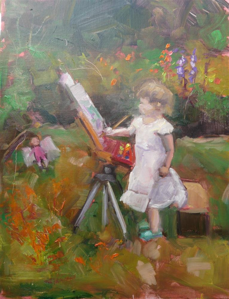 """Hannah starts plein air painting at early age"" original fine art by Carol Josefiak"