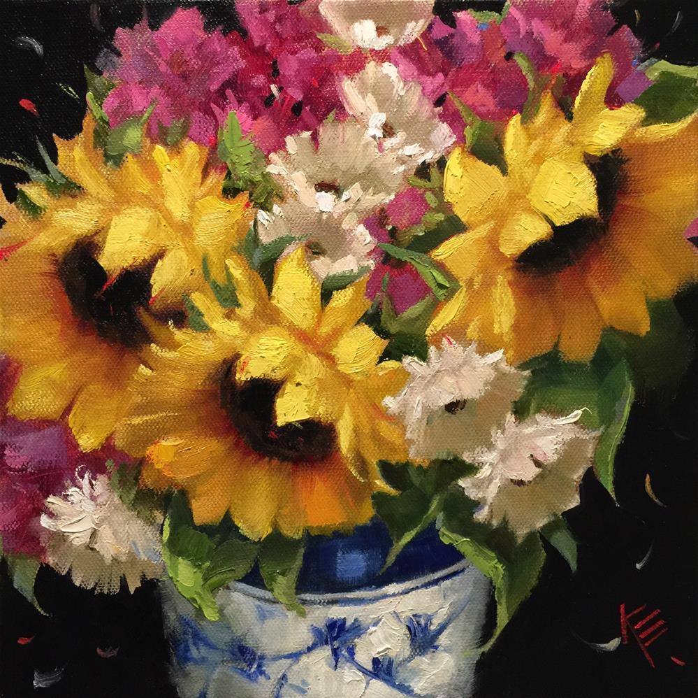 """Sunflowers in Blue & White 10x10X1.5"" original fine art by Krista Eaton"
