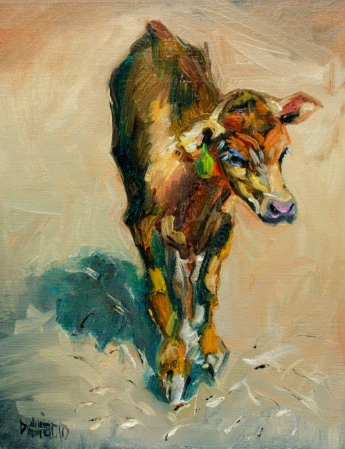 """ARTOUTWEST RANCH CALF ROPIN BY ARTIST Diane Whitehead Cow art"" original fine art by Diane Whitehead"