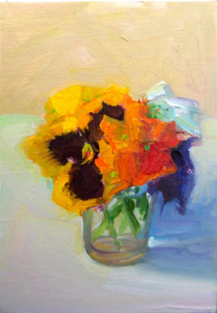 """Pansies in Glass Jar,still life, oil on canvas,7x5,price$200"" original fine art by Joy Olney"