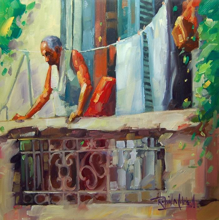 """No 491 Watching the World go by!"" original fine art by Robin J Mitchell"