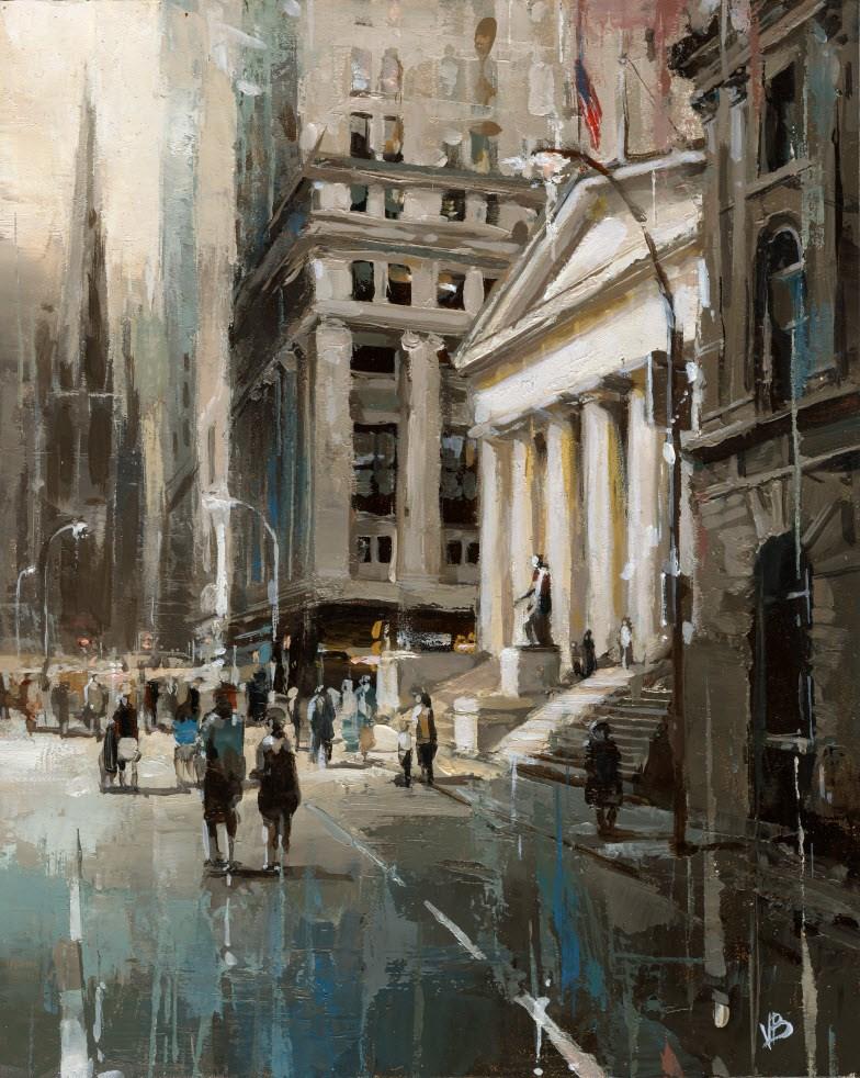 """Wall Street"" original fine art by Victor Bauer"