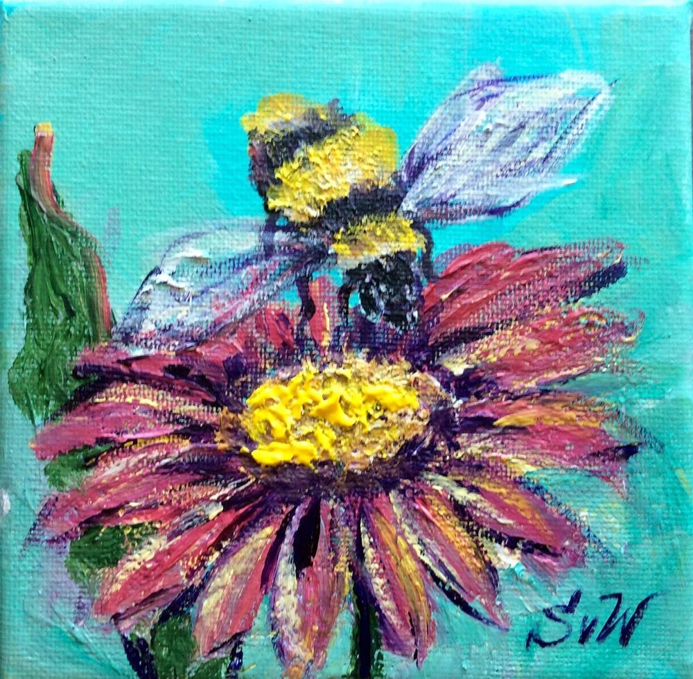 """""""Bee with a flower"""" original fine art by Sonia von Walter"""