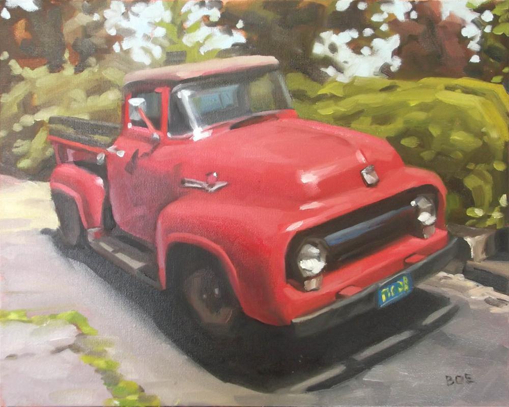 """Red Truck"" original fine art by Karen Boe"