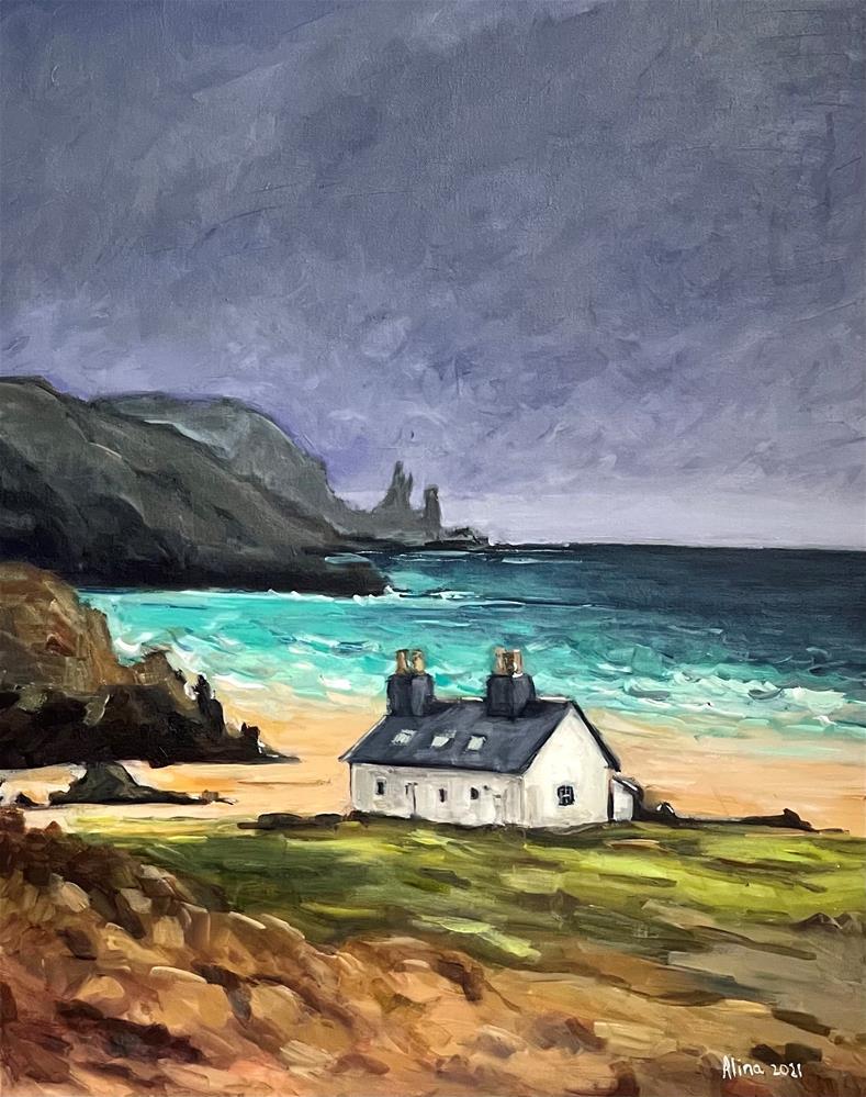 """""""Beach Cottage"""" original fine art by Alina Vidulescu"""