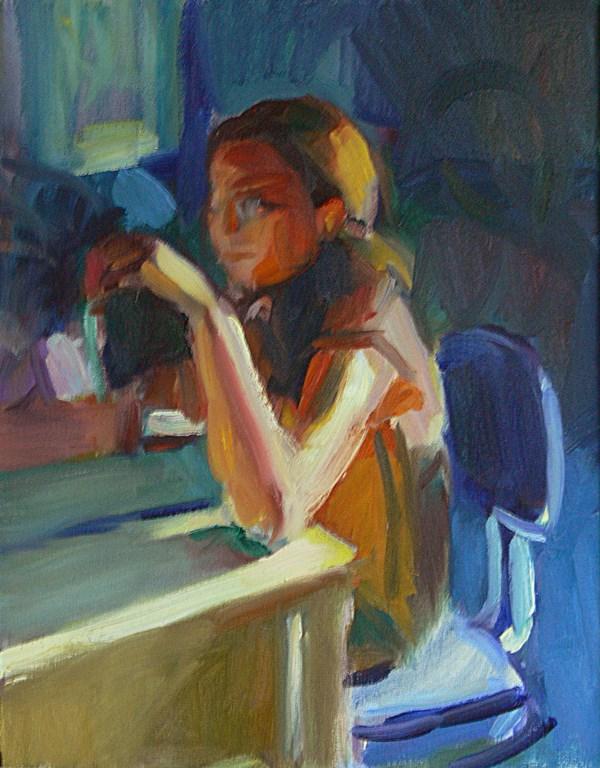 """Jen at her Desk"" original fine art by Sharon Savitz"