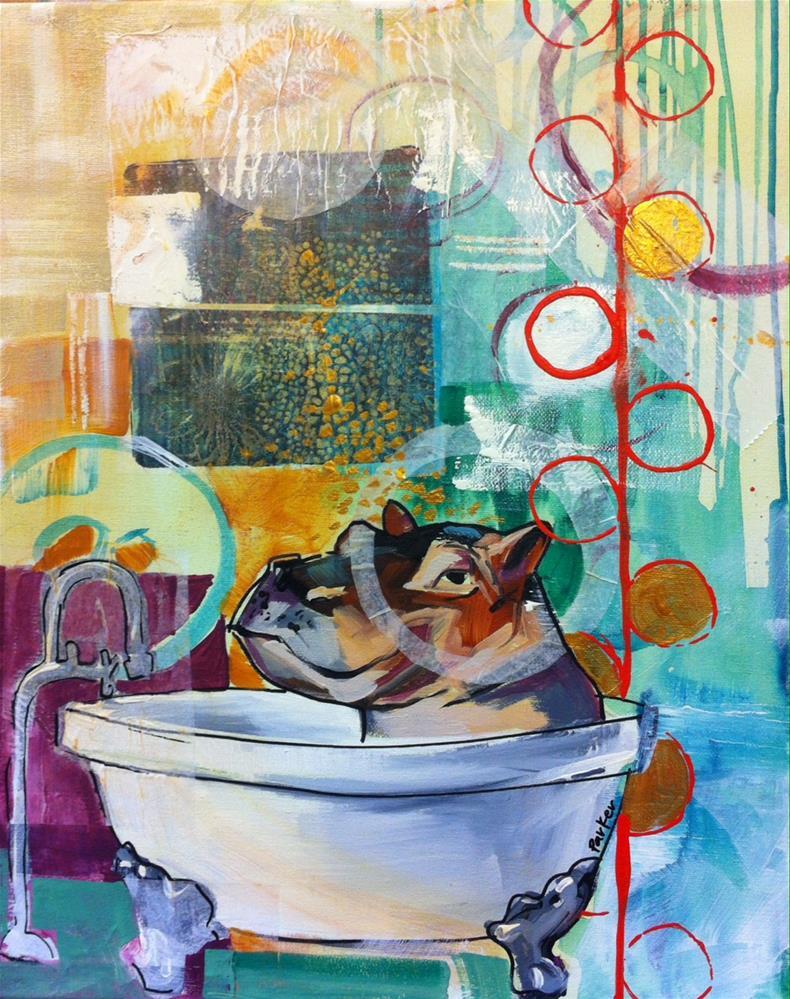 """""""Bubble Bath Guest"""" original fine art by Teddi Parker"""