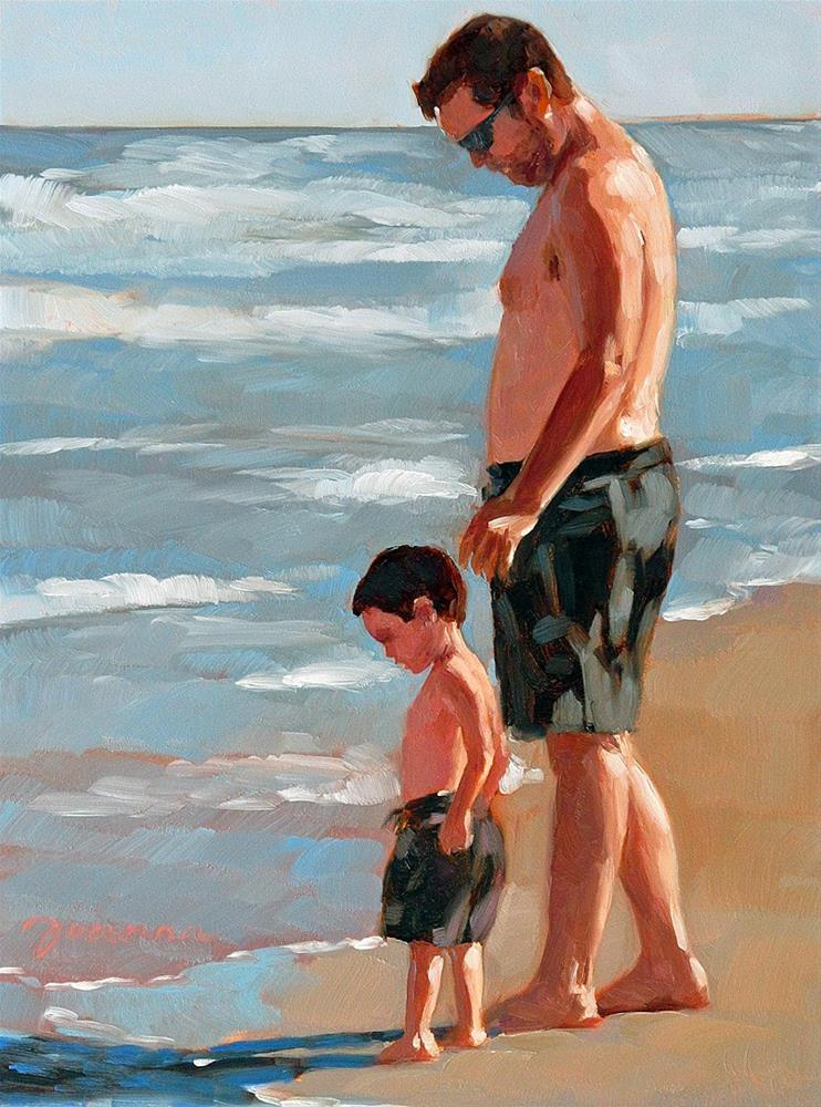 """""""The Guardian--Series Painting of Father and Child on the Beach"""" original fine art by Joanna Bingham"""
