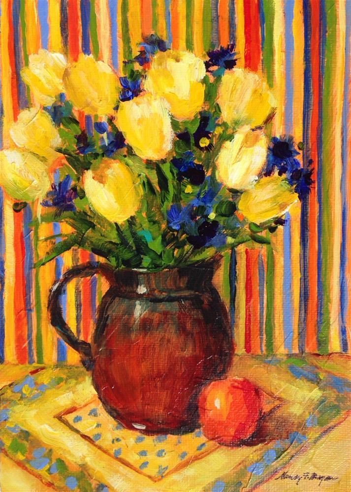 """Tulips and Textiles"" original fine art by Nancy F. Morgan"