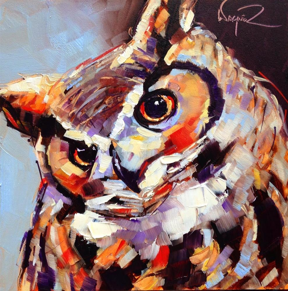 """""""CONTEMPORARY OWL PAINTING in OILS by OLGA WAGNER"""" original fine art by Olga Wagner"""