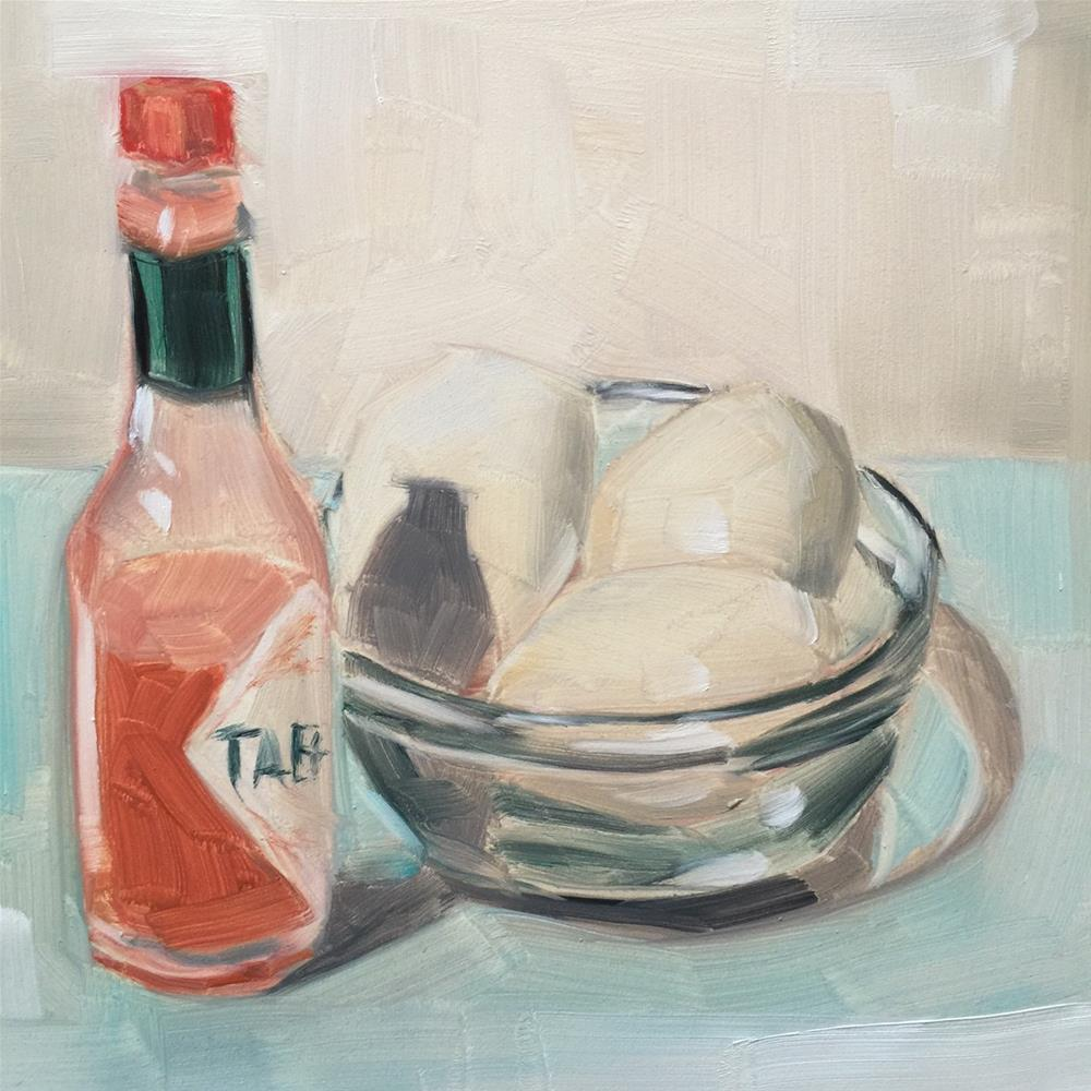 """331 Eggs and Tabasco"" original fine art by Jenny Doh"