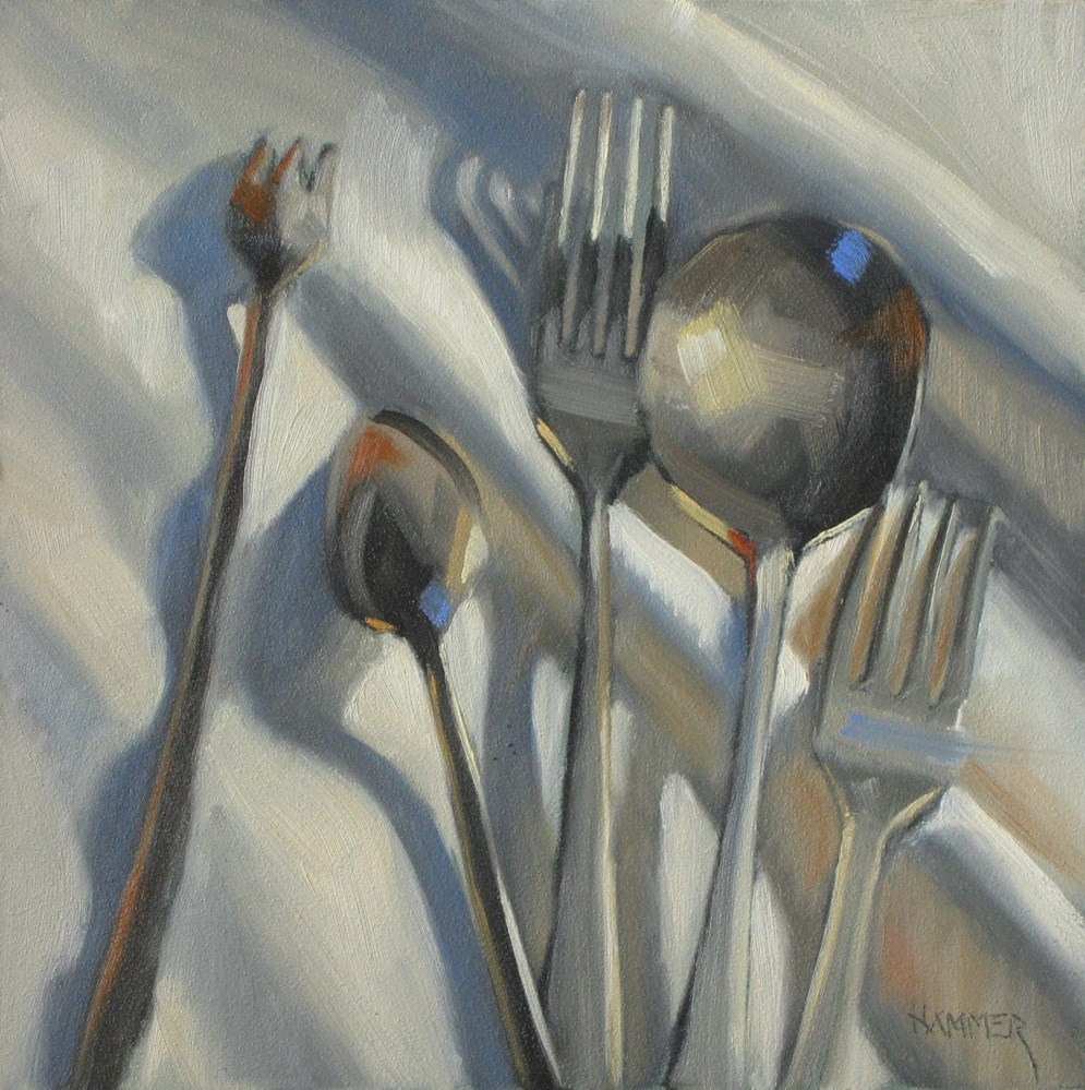 """Silverware toss 6x6 oil"" original fine art by Claudia Hammer"