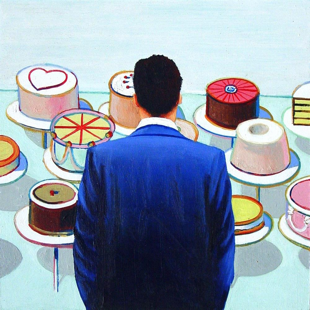 """Cakes- Painting Of Man Enjoying Painting By Wayne Thiebaud"" original fine art by Gerard Boersma"